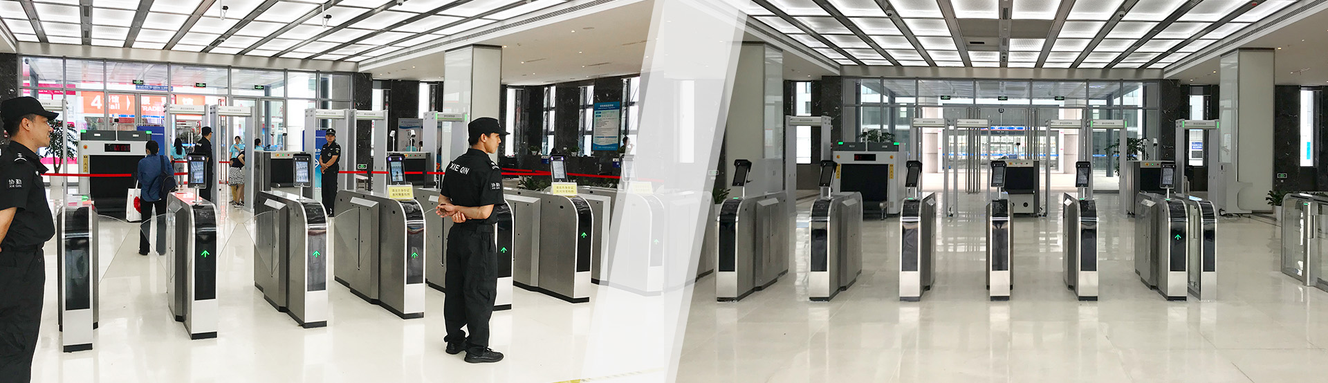 Motorized Full Height Turnstile Door with Temperature Measuring AI Face Recognition